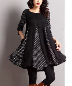 Look at this #zulilyfind! Black Mixed Media-Inset Swing Tunic by Reborn Collection #zulilyfinds
