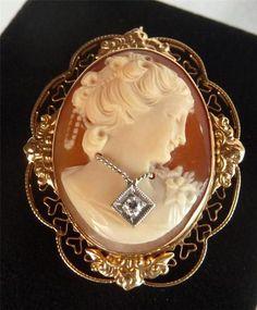 Ornate Art Deco 14k Yellow Gold Cameo Habille Diamond Filigree Brooch Pendant | eBay