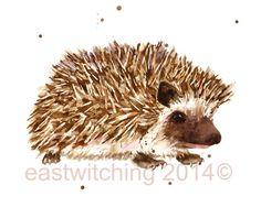 HEDGEHOG Print kids decor children art by eastwitching Hedgehog Drawing, Hedgehog Art, Cute Hedgehog, Kids Room Art, Art Wall Kids, Art For Kids, Wall Art, Watercolor Animals, Watercolor Paintings