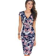 Vfemage Womens Sexy Deep V Ruched Floral Print Lace Cap Sleeve Tunic Slim High Waist Casual Party Club Fitted Sheath Dress 1970