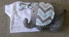 I LOVE LilyBean!!! She makes me wish I had a small one. Love the classic keepsake items!! Bowtie onesie and stuffed elephant | LilyBeanCouture - Children's on ArtFire