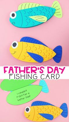 Printable Father's Day Fishing Card -This Father's Day fishing card is so cute and easy for kids to make! Perfect Father's Day gift for a dad who loves to fish. Fun and easy Father's Day card idea. Gifts cricut How to Make a Father's Day Fish Card Diy Father's Day Crafts, Father's Day Diy, Diy Crafts For Kids, Kids Diy, Kids Fathers Day Crafts, Fathers Day Art, Fathers Day Gifts Fishing, Fathers Day Presents, Toddler Crafts