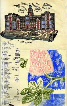 illustration UK : Edward Bawden, Scrapbook, chateau, 1945, fleur de marronnier, 1936