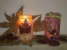 Decoupage con le foglie secche - Oggetti luminosi decapati