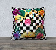 Black and White Checkerboard Gold Foil with Flowers Pillow Cover, Vintage, French Country, Large Cushion, Accent Pillow, Decorative Pillow Large Cushion Covers, Cushion Cover Designs, Large Cushions, Floral Cushions, Throw Pillow Cases, Pillow Covers, Throw Pillows, Cotton Pillow, Gold Foil