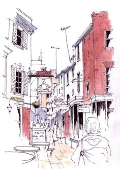 Paved Court at Richmond in Surrey ~ sketch ~ John Edwards