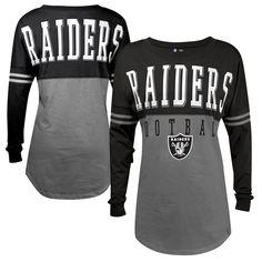 Oakland Raiders 5th & Ocean by New Era Women's Baby Jersey Spirit Top Long Sleeve T-Shirt - Gray