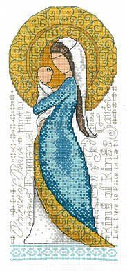 This simplistic design of the Madonna and Child was created by one of my favorite cross stitch designers of all time, Diane Arthurs. I love the blue and gold pallet and how the background is made up of all the different names of Christ.