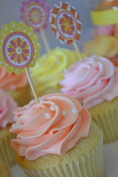 Lemon cupcakes with floral cupcake toppers. Baking by Bake Sale. Styling by Sweet Design Company.