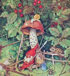 Gnome and mushroom with visiting toad - fritz baumgarten Woodland Creatures, Magical Creatures, Baumgarten, Elves And Fairies, Mushroom Art, Fairytale Art, Flower Fairies, Fairy Art, Children's Book Illustration