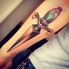 Dagger Tattoo Cassandra Frances - End Times Tattoo, Leeds, UK