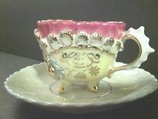 VINTAGE LUSTERWARE  GOLD GILT DEMITASSE CABINET TEA CUP AND SAUCER/GERMANY??  #3