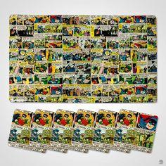 JOGO AMERICANO E PORTA COPO 12 PEÇAS COMICS  Nerds e fãs do Batman vão enlouquecer com esse jogo de 6 jogos americanos e 6 porta-copos em PVC, que transformam uma mesa em uma edição de quadrinhos