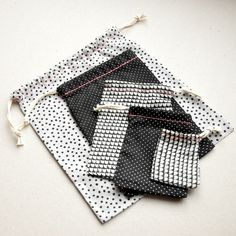 Fabric drawstring gift bags by // Between the Lines //, via Flickr
