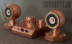 The SteamAmp II.  A perfect bookshelf stereo for your mancave. Would look great in any industrial or steampunk interior design scheme!  www.coppersteam.com