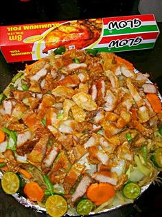 Pinoy Food Pancit Bihon With mouth Watering Lechon Kawali