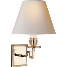 Visual Comfort Alexa Hampton Dean Single Arm Sconce in Polished Nickel with Natural Paper Shade AH2000PN-NP
