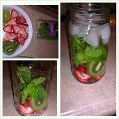 Fruit infused water..  Take the fruit of your choice and slice it into a mason jar, add a couple mint leaves, add ice..fill with water and allow to chill in the fridge for a couple hours. The fruit is reusable up to about 4 days, enjoy!