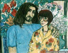 GALA SOBOL Self-portrait with Yaroslav-1. 1995. Ink and pastel on paper. 48x59 (18 7/8 x 23 1/4 in) // Автопортрет з Ярославом. 1995. Папір, туш, пастель. 48x59