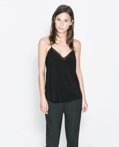 ZARA - NEW THIS WEEK - LINGERIE STYLE TOP WITH LACE TRIM