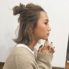 cute-bun-hairstyles-for-short-hair Elegant Short Hair Bun Ideas 2019 New Ideas Korean Short Hair, Short Hair Bun, Cute Bun Hairstyles, Down Hairstyles, Cut My Hair, Hair Cuts, High Pigtails, Elegant Short Hair, Medium Hair Styles