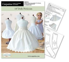 """18 inch Dolls Petticoat Underskirt Pattern as PDF File, Comes in 2 sizes: for 18"""" American Girl and slim Carpatina dolls"""