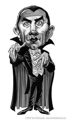13 Days of Dracula-Bela Lugosi final art! Funny Caricatures, Celebrity Caricatures, Arte Horror, Horror Art, Christoper Lee, Dracula Cartoon, Lugosi Dracula, Horror Movie Characters, Horror Movies
