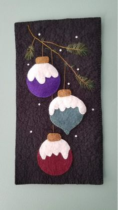 Wool Felt Wall Hanging, Christmas in the Pines, Small Space Fiber Art Artículos similares a Wool Felt Wall Hanging, After Christmas Sale, Christmas in the Pines en Etsy Christmas Wall Hangings, Christmas Wall Art, Felt Christmas Ornaments, Christmas Crafts, Christmas Sale, Xmas, Christmas Christmas, Holiday, Wool Applique Patterns
