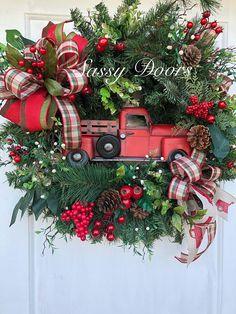 Red Truck WreathChristmas Wreaths Woodland Christmas Wreath