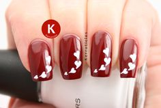 Rimmel Rapid Ruby with white stencilled hearts