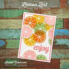 Little Paper Party, Lemon Zest, Mini Treat Bag Thinlits, Karen Robinson, Treat Bags, Happy Friday, Stampin Up, Lemon, My Favorite Things, Paper, Mini, Catalog