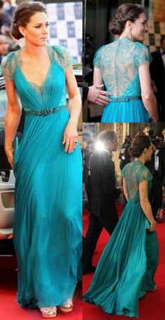 kate Princess Beading V-neck Blue Chiffon Celebrity Dress