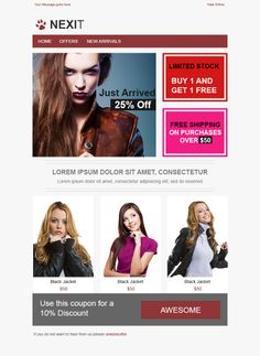 Looking for a free responsive email template? Here are 7 pre-tested and bulletproof templates for your next campaign. Email Marketing, Digital Marketing, Free Email Templates, Email Design Inspiration, Lorem Ipsum