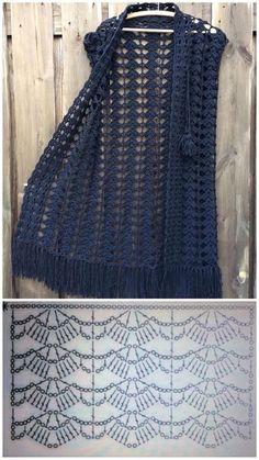 Receba as mais lindas receitas de crochê - - Crochet Bolero Pattern, Bonnet Crochet, Mode Crochet, Crochet Cardigan Pattern, Crochet Jacket, Crochet Shawl, Knit Crochet, Crochet Vests, Knit Jacket