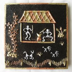 Warli Art key holders - Hobbies paining body for kids and adult Clay Wall Art, Mural Wall Art, Murals, Madhubani Art, Madhubani Painting, Worli Painting, Hand Painted Rocks, Art N Craft, Wow Art
