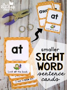 Print Smaller Sight Word Sentence Cards from your Printer Tutorial - This Reading Mama Pre K Sight Words, Sight Word Games, Sight Word Activities, Reading Activities, Teaching Reading, Preschool Sight Words, Teaching Phonics, Literacy Activities, Teaching Ideas