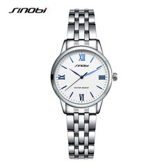 SINOBI New Stainless Steel Brand Quartz Watch Luxury Rhinestone Watches With Roman numerals Women Casual Wristwatch Clock Hours