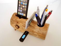 Card holder / Pen Holder / iPhone Dock / extra USB port - ( unique desk / office accessory )