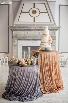 Wedding Table Cloths Custom Size for Your Table Shiny Sequin Tablecloths Gold and pink cake table ideas Wedding party homegarden decorations Wedding Sweets, Cool Wedding Cakes, Elegant Wedding Cakes, Trendy Wedding, Wedding Ideas, Wedding Tables, Wedding Blog, Wedding Inspiration, Wedding Photos