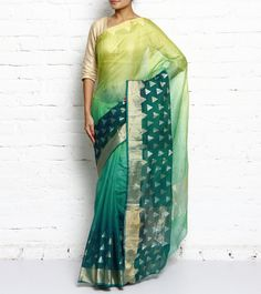 Green Shaded Temple Border Kota Silk Saree With Zari Work #ethnicwear #saree #blousepiece #korasilk #zariwork #summer #indianroots
