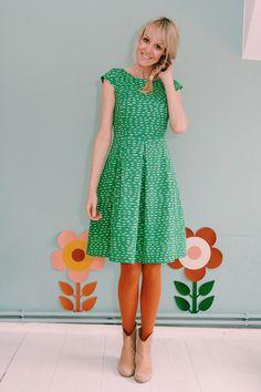 Grünes Sommerkleid mit Taschen, Soommermode / green summer dress, fashion made by Bonnie & Buttermilk via DaWanda.com