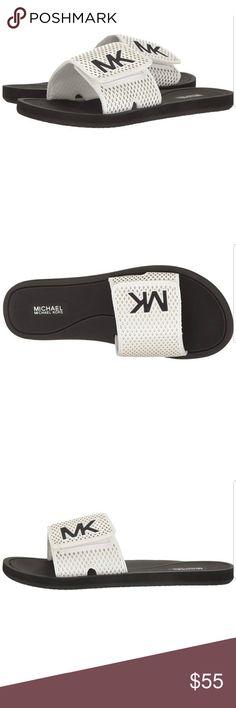 002564c84b645 BNWT Michael Kors MK Slide Size 8 Brand new in box Never worn Size Optic  white   black Michael Kors Shoes Sandals
