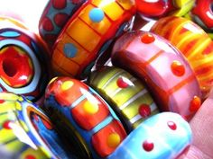 Beautiful glass beads... some of them remind me of Katamari Darmacy. Xo for that.