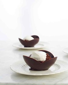 Chocolate Bowls. Amanda, you can place one bowl inside of another for a different look (I will show you).  Great served with mousse & whipped cream.  Love Mom