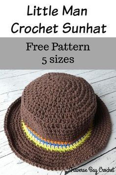Little man crochet sunhat mother daughter hats bear hat mommy and me matching hats etsy shampoo ideas of shampoo shampoo Crochet Hats For Boys, Crochet Summer Hats, Crochet Baby Clothes, Crochet Baby Hats, Crocheted Hats, Summer Knitting, Bonnet Crochet, Crochet Beanie Pattern, Knit Crochet