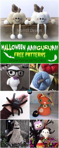 #Crochet Halloween Amigurumi Free Patterns Instructions: Halloween Cat, Halloween Ghost, Pumpkin, Owl, Spider Softies, Toys, Home Decor via @diyhowto
