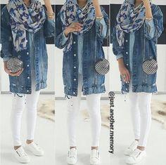 Oversized Denim Jacket Outfit Gallery oversized denim jacket outfit just trendy girls Oversized Denim Jacket Outfit. Here is Oversized Denim Jacket Outfit Gallery for you. Oversized Denim Jacket Outfit, Denim Outfit, Hijab Outfit, Denim Ootd, Outfits Otoño, Latest Outfits, Denim Jacket Tumblr, Denim Fashion, Hijab Fashion