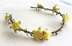 Yellow Roses Flowers hair wreath. Bohemian. Festival. Flower Crown. Woodland. Flower Girl. Rustic Wedding. Fall Tiara, Autumn Wedding.. $34.00, via Etsy.