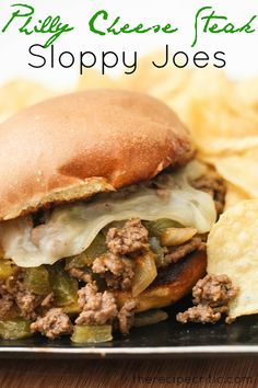 Philly Cheese Steak Sloppy Joes -- Ingredients: 1 Tablespoon extra virgin olive oil, 1 lb ground beef, 1 medium onion chopped, 1 green pepper chopped, 1/3 cup steak sauce, 1 cup beef broth, salt and pepper to taste, 4 hamburger buns, 1 Tablespoon Butter, 1 Tablespoon flour, 1 cup milk, 1 cup shredded provolone cheese