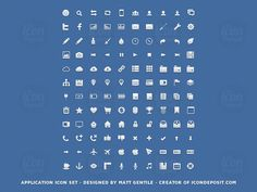 http://www.icondeposit.com/theicondeposit:113 The Application Icon Set consists of 120 pixel-perfect icons in three different sizes (16px, 32px and 64px) and it comes in three formats (PSD, PNG and CSH). The icons are vector shapes so you can scale them to any size.